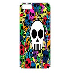 Skull Background Bright Multi Colored Apple iPhone 5 Seamless Case (White)