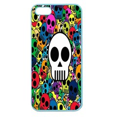 Skull Background Bright Multi Colored Apple Seamless iPhone 5 Case (Color)