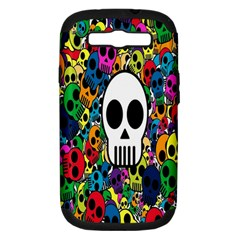 Skull Background Bright Multi Colored Samsung Galaxy S III Hardshell Case (PC+Silicone)