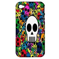 Skull Background Bright Multi Colored Apple iPhone 4/4S Hardshell Case (PC+Silicone)