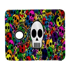 Skull Background Bright Multi Colored Galaxy S3 (Flip/Folio)