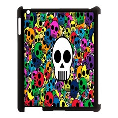 Skull Background Bright Multi Colored Apple iPad 3/4 Case (Black)