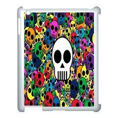 Skull Background Bright Multi Colored Apple iPad 3/4 Case (White)