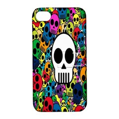 Skull Background Bright Multi Colored Apple iPhone 4/4S Hardshell Case with Stand