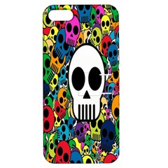 Skull Background Bright Multi Colored Apple iPhone 5 Hardshell Case with Stand