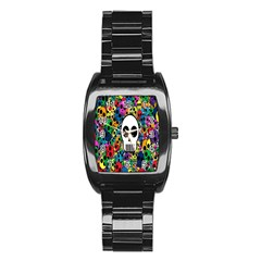 Skull Background Bright Multi Colored Stainless Steel Barrel Watch
