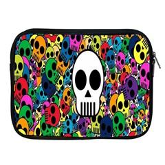 Skull Background Bright Multi Colored Apple iPad 2/3/4 Zipper Cases