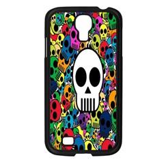 Skull Background Bright Multi Colored Samsung Galaxy S4 I9500/ I9505 Case (Black)