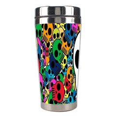 Skull Background Bright Multi Colored Stainless Steel Travel Tumblers