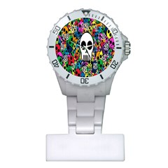 Skull Background Bright Multi Colored Plastic Nurses Watch