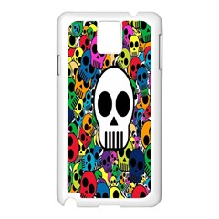 Skull Background Bright Multi Colored Samsung Galaxy Note 3 N9005 Case (White)