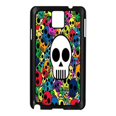 Skull Background Bright Multi Colored Samsung Galaxy Note 3 N9005 Case (Black)