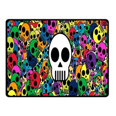 Skull Background Bright Multi Colored Double Sided Fleece Blanket (Small)