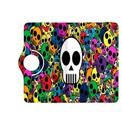 Skull Background Bright Multi Colored Kindle Fire HDX 8.9  Flip 360 Case