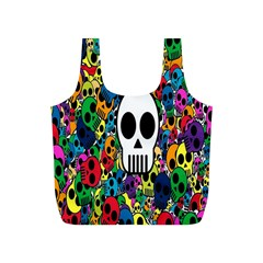 Skull Background Bright Multi Colored Full Print Recycle Bags (S)