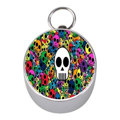 Skull Background Bright Multi Colored Mini Silver Compasses
