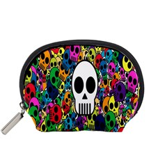 Skull Background Bright Multi Colored Accessory Pouches (Small)