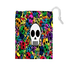 Skull Background Bright Multi Colored Drawstring Pouches (Large)