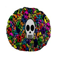 Skull Background Bright Multi Colored Standard 15  Premium Flano Round Cushions