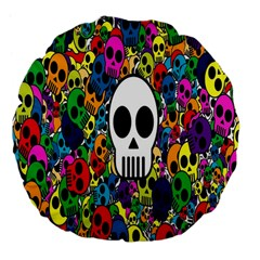 Skull Background Bright Multi Colored Large 18  Premium Flano Round Cushions