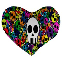 Skull Background Bright Multi Colored Large 19  Premium Flano Heart Shape Cushions