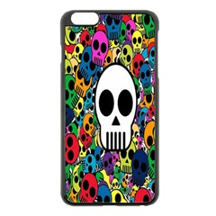 Skull Background Bright Multi Colored Apple iPhone 6 Plus/6S Plus Black Enamel Case