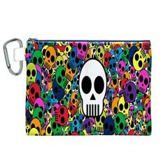 Skull Background Bright Multi Colored Canvas Cosmetic Bag (xl)