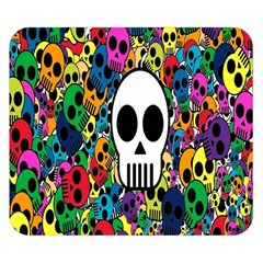 Skull Background Bright Multi Colored Double Sided Flano Blanket (small)