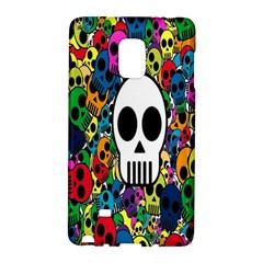 Skull Background Bright Multi Colored Galaxy Note Edge