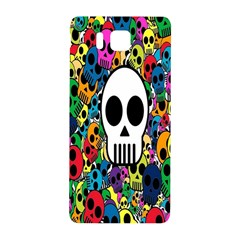 Skull Background Bright Multi Colored Samsung Galaxy Alpha Hardshell Back Case