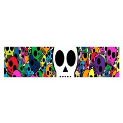 Skull Background Bright Multi Colored Satin Scarf (Oblong)
