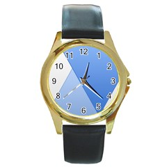 Stripes Lines Texture Round Gold Metal Watch