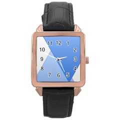 Stripes Lines Texture Rose Gold Leather Watch