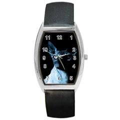 Blue Sphynx cat Barrel Style Metal Watch