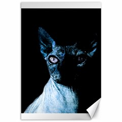 Blue Sphynx cat Canvas 12  x 18