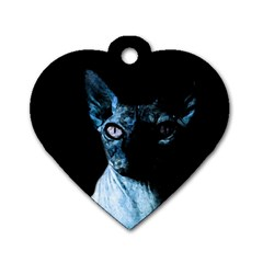 Blue Sphynx cat Dog Tag Heart (Two Sides)