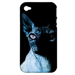 Blue Sphynx cat Apple iPhone 4/4S Hardshell Case (PC+Silicone)