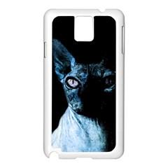 Blue Sphynx cat Samsung Galaxy Note 3 N9005 Case (White)
