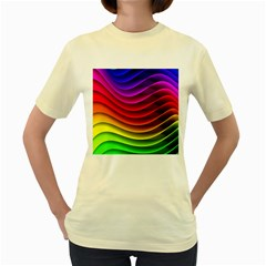 Spectrum Rainbow Background Surface Stripes Texture Waves Women s Yellow T-Shirt