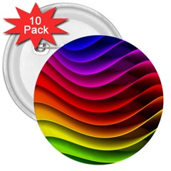 Spectrum Rainbow Background Surface Stripes Texture Waves 3  Buttons (10 pack)