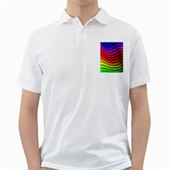 Spectrum Rainbow Background Surface Stripes Texture Waves Golf Shirts