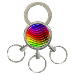 Spectrum Rainbow Background Surface Stripes Texture Waves 3 Ring Key Chains