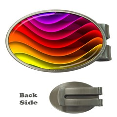Spectrum Rainbow Background Surface Stripes Texture Waves Money Clips (Oval)