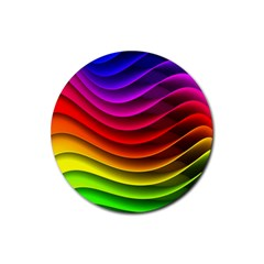Spectrum Rainbow Background Surface Stripes Texture Waves Rubber Round Coaster (4 pack)