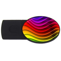 Spectrum Rainbow Background Surface Stripes Texture Waves USB Flash Drive Oval (1 GB)