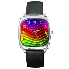 Spectrum Rainbow Background Surface Stripes Texture Waves Square Metal Watch