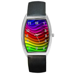 Spectrum Rainbow Background Surface Stripes Texture Waves Barrel Style Metal Watch