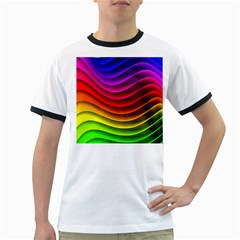 Spectrum Rainbow Background Surface Stripes Texture Waves Ringer T-Shirts