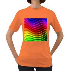 Spectrum Rainbow Background Surface Stripes Texture Waves Women s Dark T-Shirt