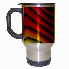 Spectrum Rainbow Background Surface Stripes Texture Waves Travel Mug (Silver Gray)